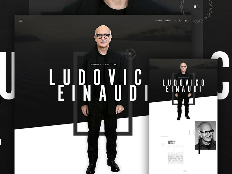 Ludovico Einaudi type hero parallax design web ui music layout