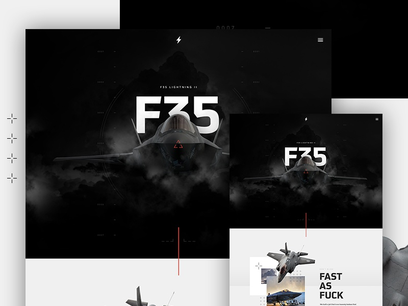 F35 Lightning II jet f35 type hero parallax design web ui layout
