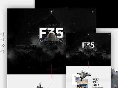 F35 Lightning II jet f35 type hero parallax design web ui layout