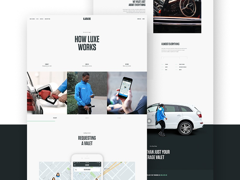How it works modal valet type hero parallax design web ui layout