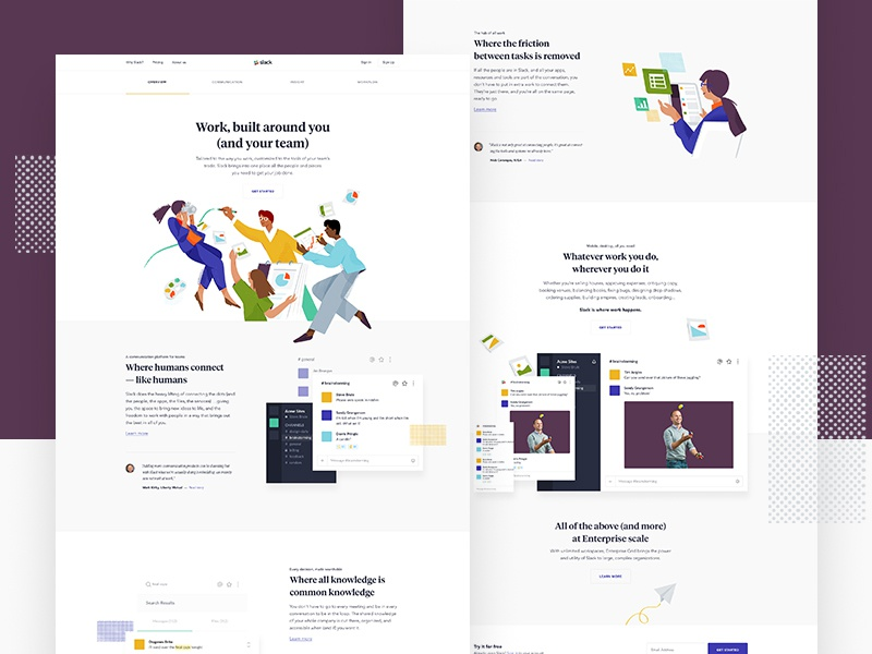 Why Slack? landing app layout ui web design parallax hero type slack