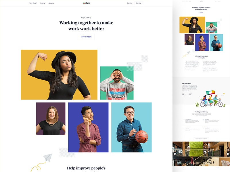 Careers slack type hero parallax design web ui layout app landing