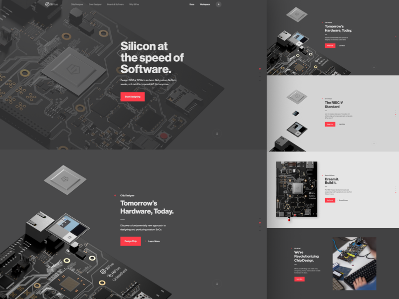 SiFive Home hardware ux typography web layout type parallax hero ui design