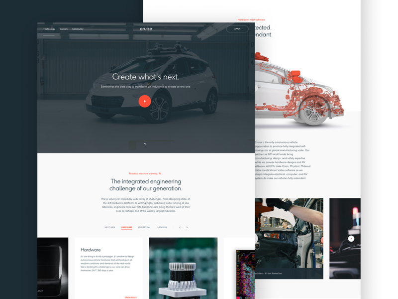 Cruise Technology ueno header motion typography layout type parallax hero ui web design