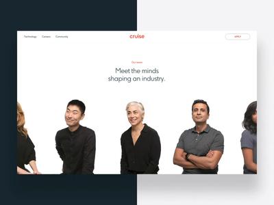 Cruise Team Slider content motion typography header layout type parallax hero ui web design