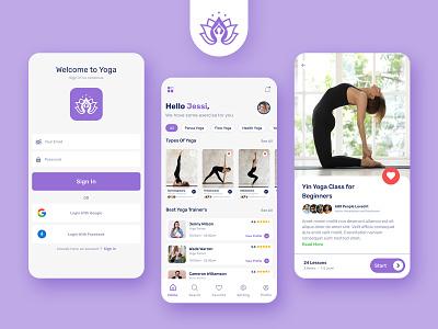 Health Yoga | Yoga App UI Design ui design app design design mobile application yoga app ui design yoga app design yoga app yoga ux mobile app graphic design ui