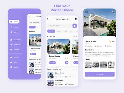 Property Rent | Real Estate App Concept minimal house rent app clean ui property app design ux design ui design property rent real estate mobile app graphic design ui