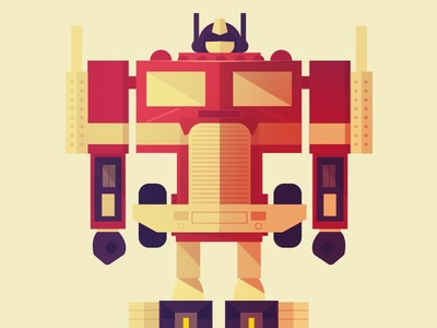 Optimus Prime figure transformers robot illustration vector cartoon character vehicle flat simple toy optimus prime christmas