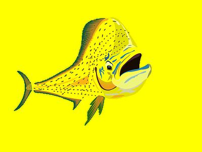 Mahi mahi fish on hookup branding ui logo design illustration illistration image to vector redraw vector art creative design rod fish marchandise amazon store merch by amazon boat custom t shirt design