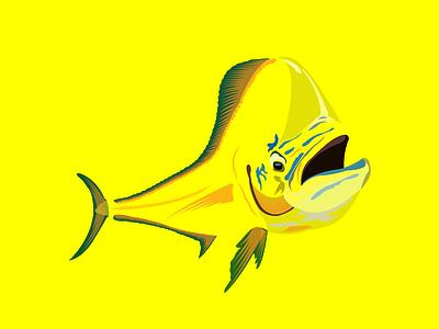 Eye caching mahi mahi fish vector design branding illustration logo illistration image to vector design redraw vector art creative design amazon store eye caching design t shirt fisherman boat fish mahi mahi fish on hookup
