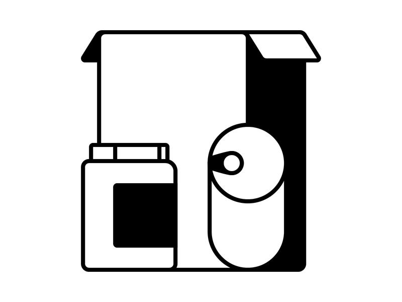 Food Cupboard Icon monoline line food app box food label pot tin can jar simple flat carton monotone icon design iconography icon