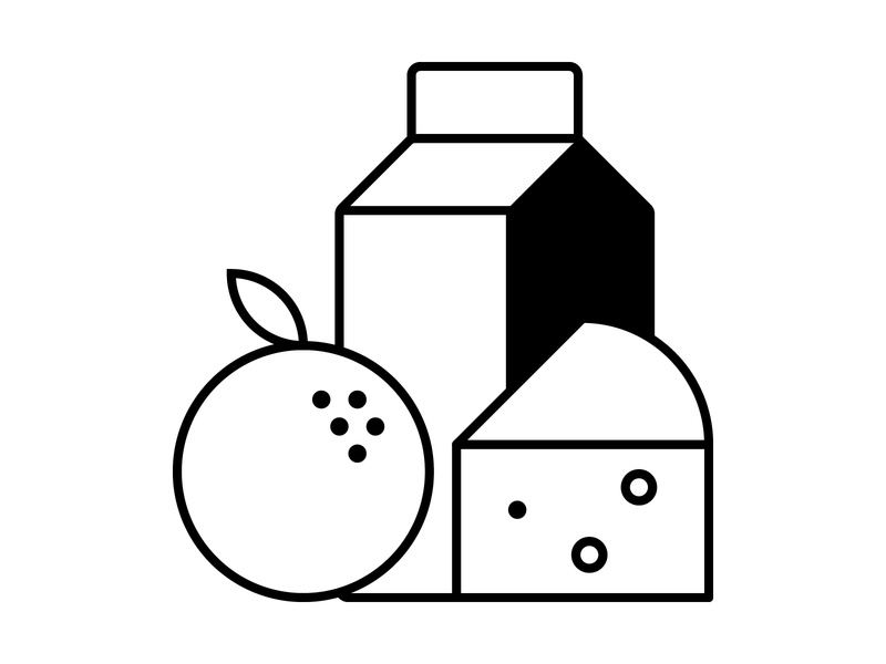 Fresh Food line stroke cheese milk carton fruit orange ui design food simple flat vector illustration