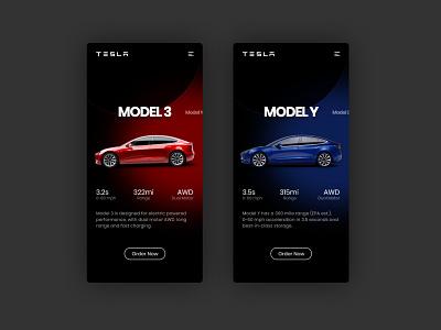 Tesla Mobile Concept flat uidesign app adobexd minimal mobile ui design ux ui
