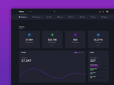 Plyenz. Dark admin template black dark dashboard flat design admin panel responsive dashboard admin panel webdesign design ux ui