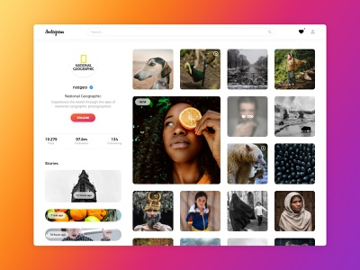 Instagram Redesign web minimal flat re-design concept instagram redesign design uidesign ux ui