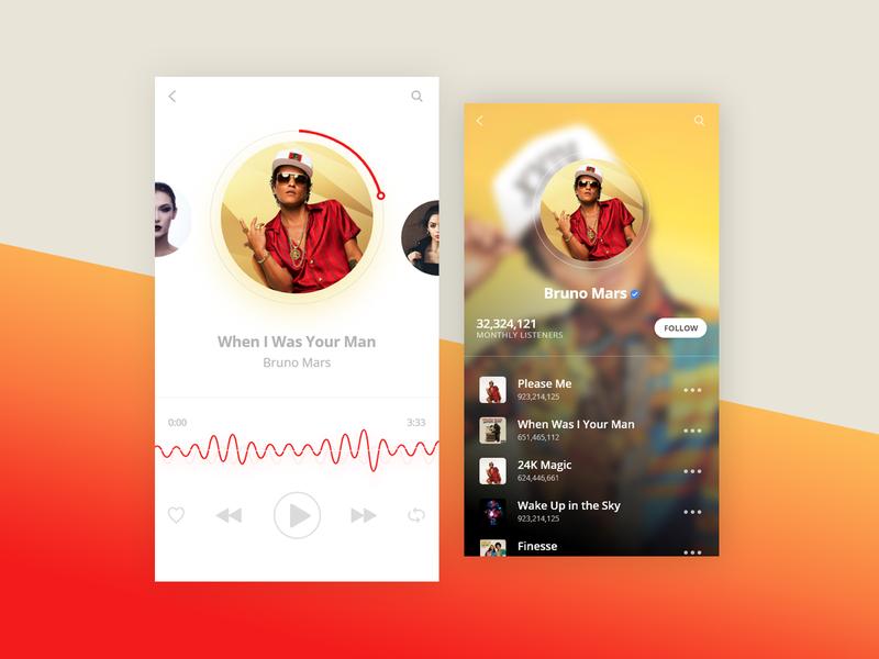 Music App app design application uidesign mobile app gradient minimal design ux ui music mobile app