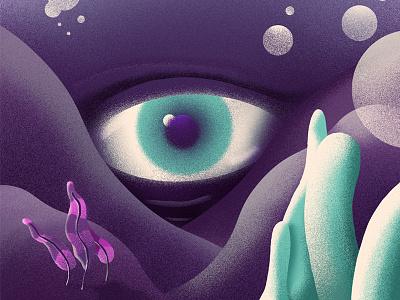 All seeing monster pink underwater plants noise texture sea watching creature purple illustration eye