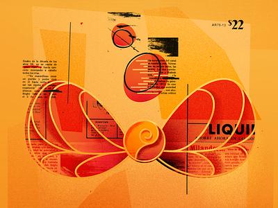 Wings design type vintage summer warm orange texture collage
