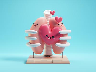 Valentines Day cute b3d blender illustration render skeleton lungs valentines day valentines heart