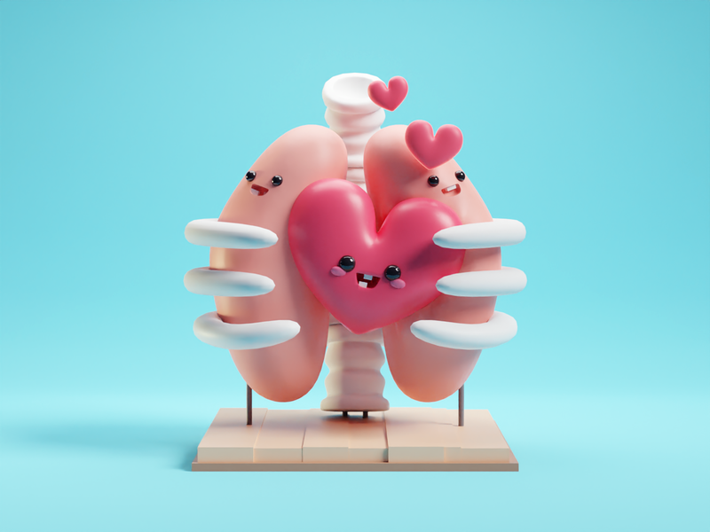 Valentines Day cute b3d blender illustration render skeleton lungs valentines day valentines heart
