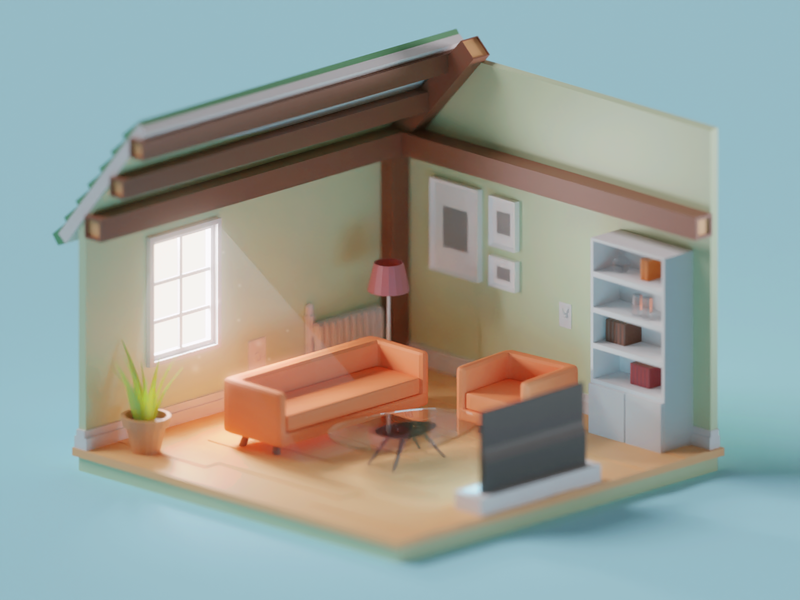 Cosy Room rooms room cosy illustration render b3d low poly isometric blender