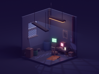 The Average Work Place illustration cute low poly b3d isometric glowy computer warehouse dark office blender