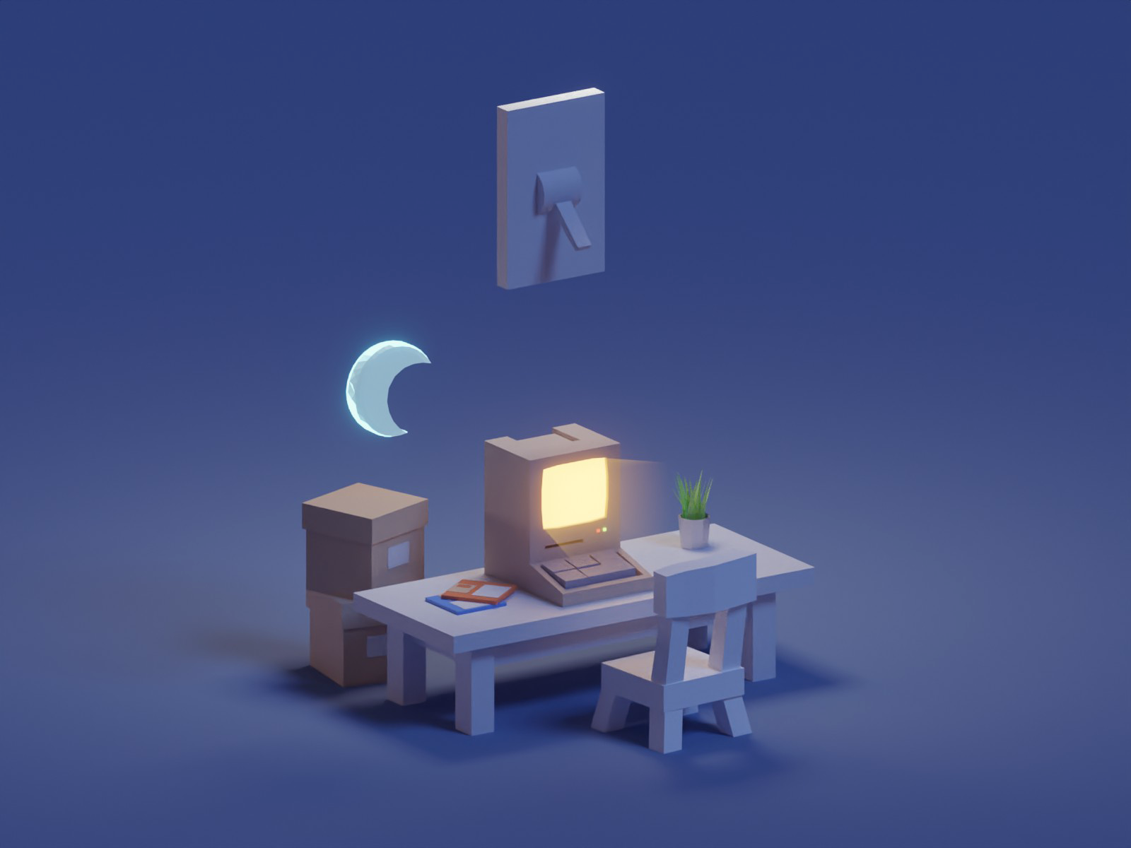 Dark Version dark light apple computer lowpoly isometric b3d blender
