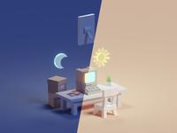 Mixed Screen low poly b3d light dark night computer isometric illustration blender
