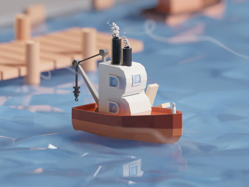 36 Days of Type 2020 B illustration wind sea port boat low poly isometric b3d blender