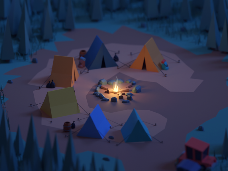 36 Days of Type 2020 C fire tent camping lowpoly camp isometric b3d blender