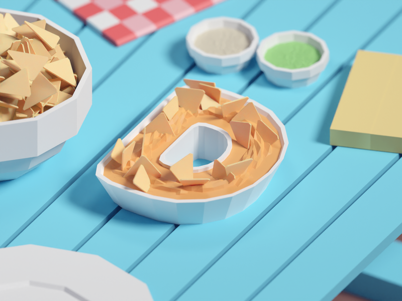 36 Days of Type 2020 D illustration food nachos dip low poly isometric b3d blender