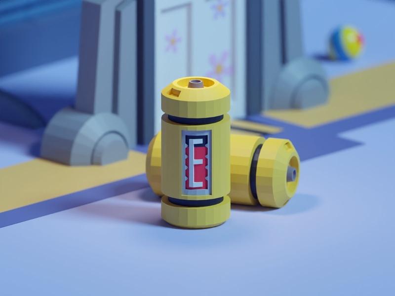 36 Days of Type 2020 E luxo ball scream battery energy pixar disney monsters b3d blender