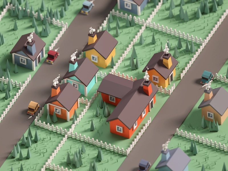 36 Days of Type 2020 H typography render illustration streets house low poly isometric b3d blender
