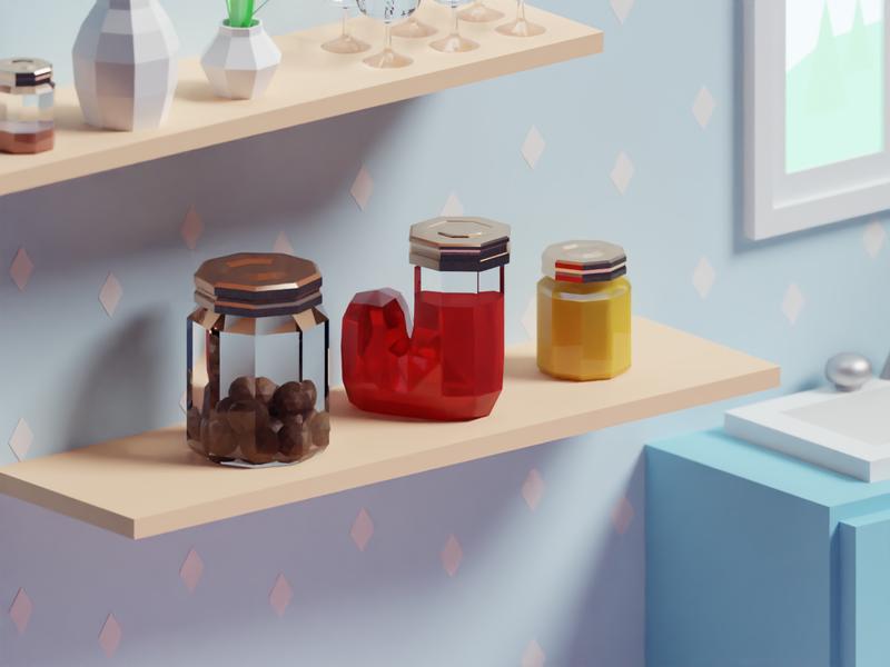 36 Days of Type 2020 J jar jam kitchen isometric b3d blender