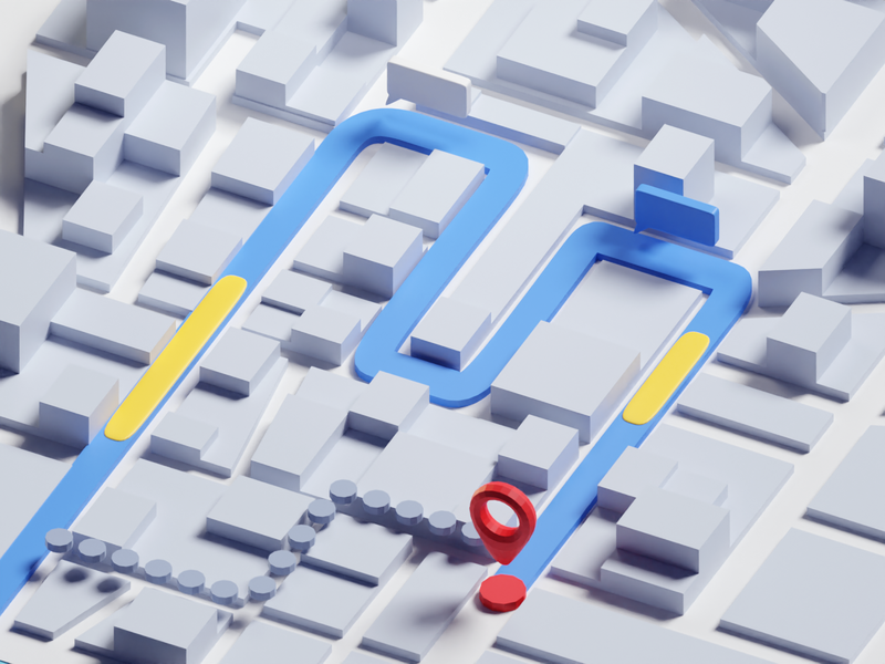 36 Days of Type 2020 M google map typography low poly isometric b3d maps blender