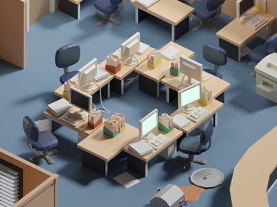 36 Days of Type 2020 O illustration michael scott kevin chilli office low poly isometric b3d blender