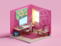 Dribbble Room illustration creative dribbble low poly isometric b3d blender