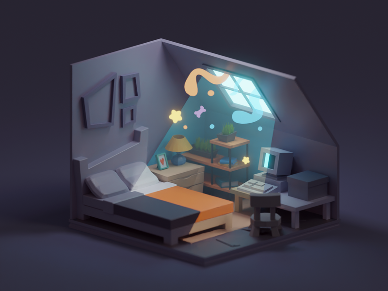 A little bit of contrast cute tiny love contrast room illustration isometric b3d blender