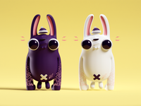 Black and White Gorilla Bunnies 3D render illustration black and white bunnies 3d cute characters b3d blender