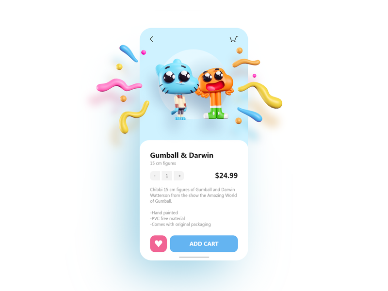 Gumball & Darwin UI illustration figure store mobile blender