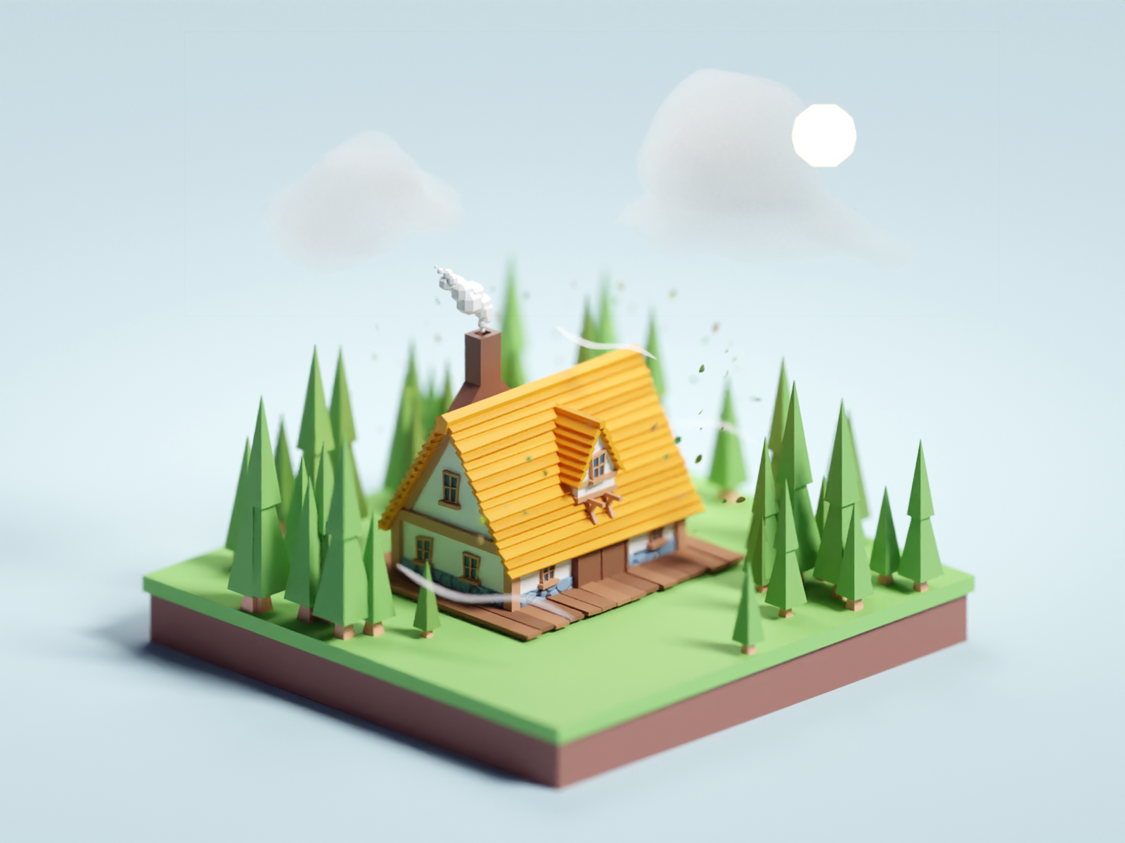 Tiny Cabin illustration forest cabin low poly isometric b3d blender