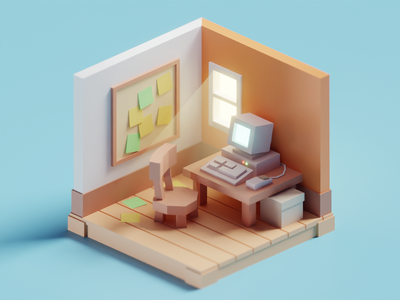 Meeting Doodles - Tiny Office deadlines work office illustration low poly isometric b3d blender