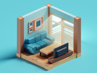 Meeting Doodles Tiny Living Room illustration tiny cute living room low poly isometric b3d blender