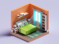 Meeting Doodles - Tiny Bedroom chunky cute illustration room tiny bedroom isometric b3d blender low poly