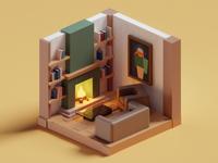 Meeting Doodles Tiny Living Room 2 quick illustration books living room lowpoly isometric b3d blender