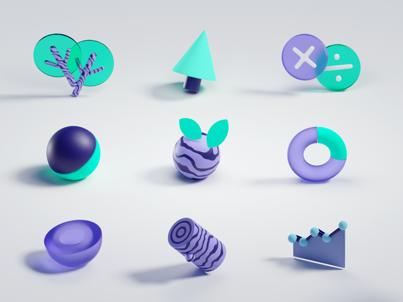 3D icons envrionment eco green icons b3d blender