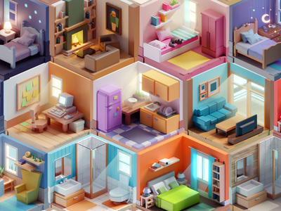 Tiny Rooms illustration meeting low poly rooms isometric b3d blender