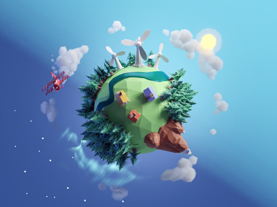 Low Poly World 2021 polygons render illustration earth earth day low poly planet world b3d blender