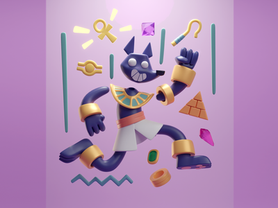 Fun Anubis illustration render cute ancient egyptians egypt pharaohs anubis b3d blender