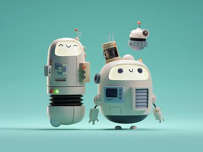 Scribbly Robot Frands (3D version) doodle cute illustration fun frands robots b3d blender